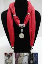 "Scarf Necklace-Rhinestone Locket with End Charms 70"" - <span style=""color:red"">ON SALE UP TO 50% OFF</span>"