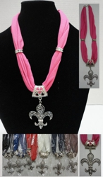 "Short Scarf Necklace-Fleur de Lis 30"" - <span style=""color:red"">ON SALE UP TO 50% OFF</span>"