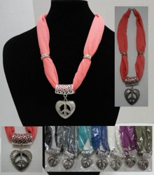 "Short Scarf Necklace-Peace Sign Heart 30"" - <span style=""color:red"">ON SALE UP TO 50% OFF</span>"