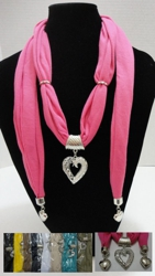 Scarf Necklace-Filigree Heart w/ Rhinestones & End Charms 70""