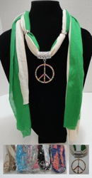 "Scarf Necklace-Colored Rhinestone Peace Sign 70"" - <span style=""color:red"">ON SALE UP TO 50% OFF</span>"