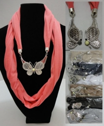 "Scarf Necklace-Loop Scarf w/ Magnetic Butterfly 70"" - <span style=""color:red"">ON SALE UP TO 50% OFF</span>"
