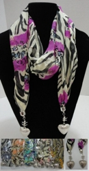 "Scarf Necklace-Cheetah/Zebra Print w/ Heart End Charms 70"" - <span style=""color:red"">ON SALE UP TO 50% OFF</span>"