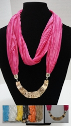"Scarf Necklace-Loop Scarf w/ Golden Charms - <span style=""color:red"">ON SALE UP TO 50% OFF</span>"