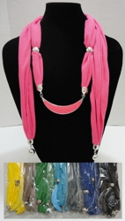 "Scarf Necklace--Crescent Moon with End Charms 70"" - <span style=""color:red"">ON SALE UP TO 50% OFF</span>"
