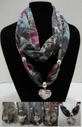 "Scarf Necklace-Printed Loop Scarf w/ Rhinestone/Rose Heart Charm - <span style=""color:red"">ON SALE UP TO 50% OFF</span>"
