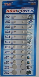 24pc Assorted Button Cell Batteries