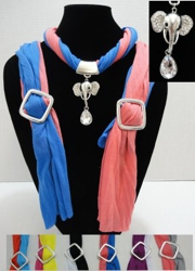 Scarf Necklace-Two Color Scarf with Elephant Charm