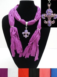 "Scarf Necklace-Jeweled Fleur de Lis--68"" - <span style=""color:red"">ON SALE UP TO 50% OFF</span>"
