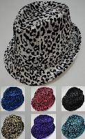 Fedora Hat--Sequins with Animal Print