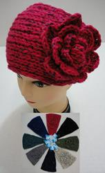 Wider Hand Knitted Ear Band w/ Flower [Metallic Accent]