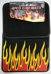 4pc Car Mats-Black with Flames