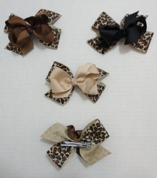 "4"" Alligator Clip w Bow--Animal Print"