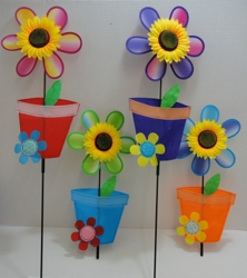 "11"" Wind Spinner-Sunflower & Flower Pot"