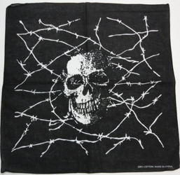 Bandana-Fading Skull with Barbed Wire