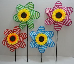 "14"" Double Wind Spinner [Stripes & Sunflower]"