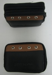 "3 Compartment Black/Brown Accent Camera/Phone Case - <span style=""color:blue"">Two zippered</span> compartments and one velcro compartment. 4.75""x3.5""x1.5""."