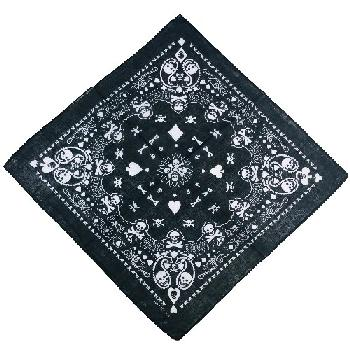 Bandana-Black Paisley Skull with Ace/Heart/Spade/Club