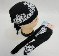 Skull Cap-White Scroll Work with Skulls
