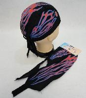 Skull Cap-Red & Blue Flames with Maltese Cross