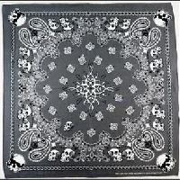 Bandana-Gray Paisley Print with Skull/Chain Border