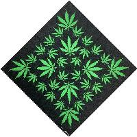 Bandana-Black with Green Leaves