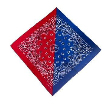 Bandana-Royal Blue/Red Diagonal Split