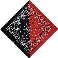Bandana-Red/Black Diagonal Split