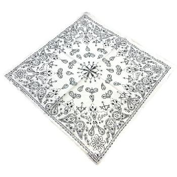 Bandana-White Paisley Print [Club-Spade-Heart-Diamond]