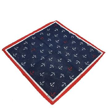 Bandana-Navy with White & Red Anchors