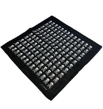 Bandana-Black with White Skull Pattern
