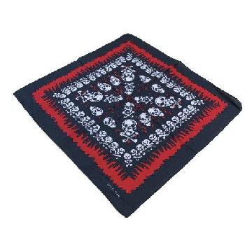 Bandana-Black with White Skulls [Red Frame]