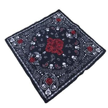 Bandana-Black with White Paisley/Skulls/Red Roses