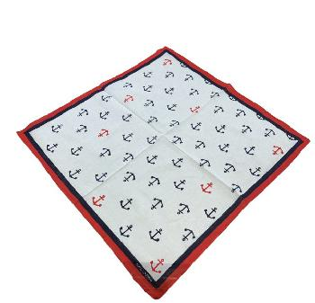 Bandana-White with Navy & Red Anchors