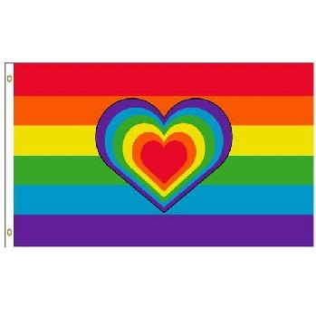 3'x5' Rainbow Flag with Rainbow Heart
