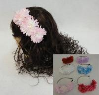 Metal Head Band with 3 Flowers