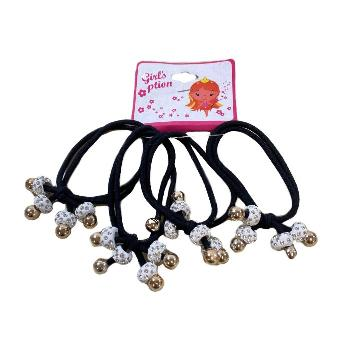 4pc Elastic Hairbands with White Rhinestone Beads