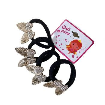 4pc Elastic Hairbands with Butterflies