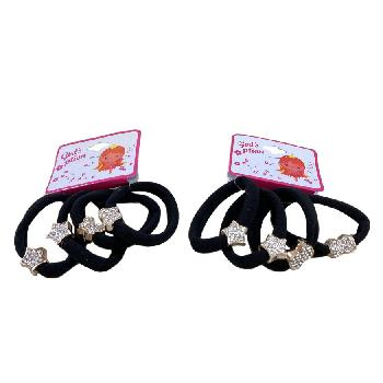 4pc Elastic Hairbands with Assorted Rhinestone Accents