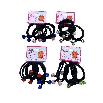 4pc Elastic Hairbands with Colored Rhinestone Balls