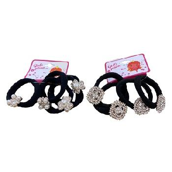 4pc Elastic Hairbands with Assorted Pearl & Rhinestone Accents