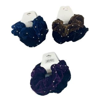 2pc Velvet Scrunchie with Rhinestones