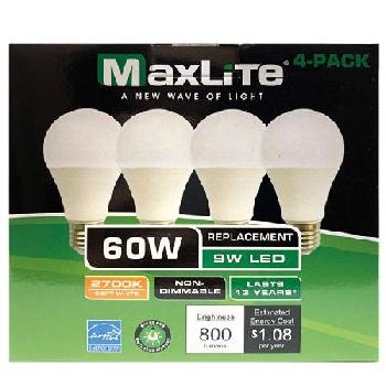 "Maxlite 4pk LED Bulb 9W(60W Equivalent) Non-Dimmable [Soft White] - <span style=""color:red"">AS LOW AS $ 2.15 For 4  Bulbs</span>"