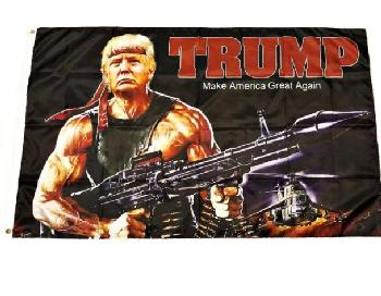 3'X5' Flag TRUMP with Machine Gun - Trump Flag