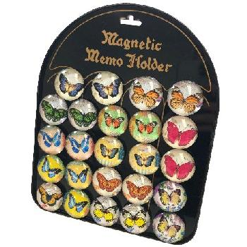 "1.5"" Round Dome Magnets [Butterflies] with Display Board"