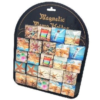 "1.5""x1.5"" Square Glass Magnet [Seashells] with Display Board"