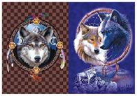 3D Picture 9701--Wolves with Dream Catchers