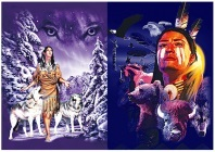 3D Picture 9702--American Indian with Wolves/Bear/Bison