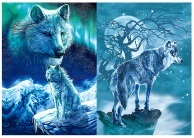3D Picture 9705--Snowy Night Wolves