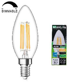 "Maxlite 1pk  LED Chandelier Bulb 4 W(40W Equivant)-Dimmable [Soft White] - <span style=""color:red"">AS LOW AS $ 0.60 EACH</span>"